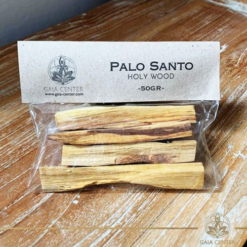 Palo Santo holy wood sticks for smudging. Palo Santo Pack of 50gr available at Gaia Center in Cyprus. We deliver worldwide. Palo Santo wood for wholesale and retail.
