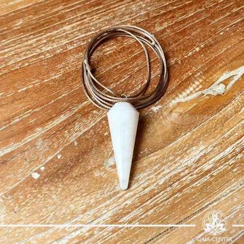 Snow quartz faceted cone pendant on a string. Crystal and Gemstone pendants at Gaia Center in Cyprus. Worldwide delivery, shop online: https://gaia-center.com