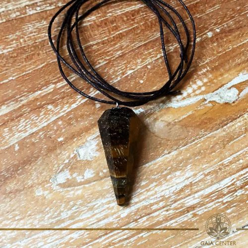 Tigers Eye pendant on a string. Crystal and Gemstone pendants at Gaia Center in Cyprus. Worldwide delivery, shop online: https://gaia-center.com