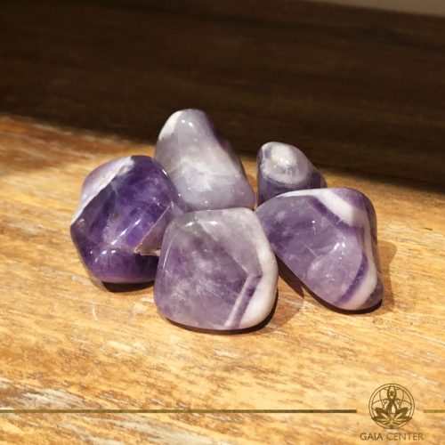 Amethyst Banded tumbled gemstones. Gemstones and Crystals in Cyprus at Gaia-Center