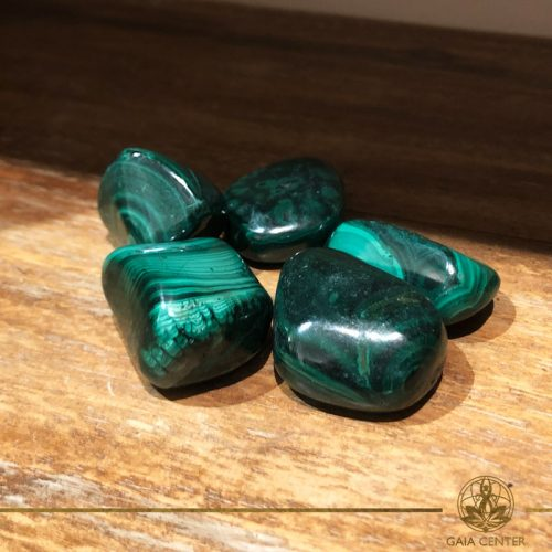 Malachite tumbled gemstones. Gemstones and Crystals in Cyprus at Gaia-Center
