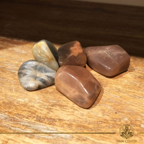 Moonstone tumbled gemstones. Gemstones and Crystals in Cyprus at Gaia-Center