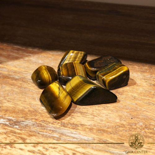 Tigers Eye Gold tumbled gemstones. Gemstones and Crystals in Cyprus at Gaia-Center