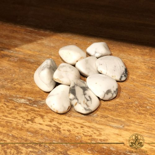 White Howlite tumbled gemstones. Gemstones and Crystals in Cyprus at Gaia-Center