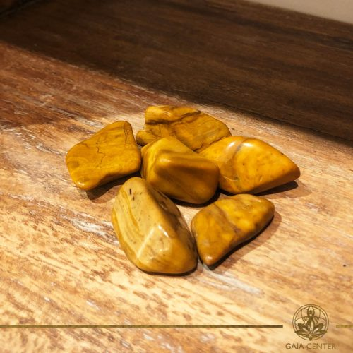 Jasper Yellow tumbled gemstones. Gemstones and Crystals in Cyprus at Gaia-Center