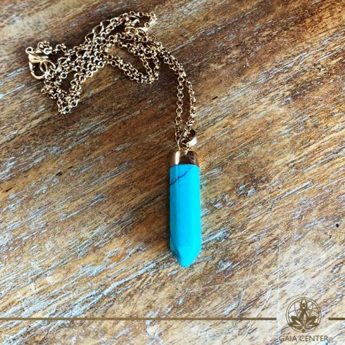 Turquoise pendant at Gaia Center in Cyprus. Gemstone and crystal pendants selection.