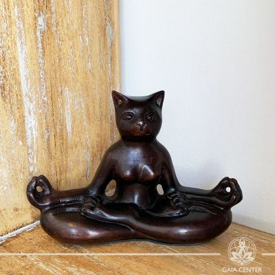 Yoga Cat Meditating Statue - Enlightened pose - casted lava sand with antique copper color finishing. Spiritual items at Gaia Center in Cyprus. Order online: https://www.gaia-center.com Cyprus and International Shipping.