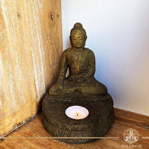 Buddha statue candle holder made from stone at Gaia Center in Cyprus. Shop online at https://gaia-center.com. Cyprus and Worldwide shipping.