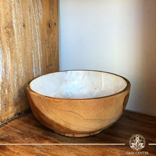 Natural coral shell and wooden bowl at Gaia Center in Cyprus. Shop online at https://gaia-center.com. Cyprus and Worldwide shipping.