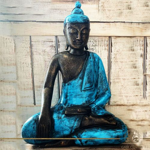 Buddha Statue blue and antique gold finishing sitting and meditating with hands gesturing Samadhi or Yoga Mudra at Gaia Center in Cyprus. Shop online at https://gaia-center.com. Cyprus and Worldwide shipping.