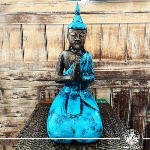 Buddha Statue blue and antique gold finishing sitting and meditating with hands gesturing NAMASTE at Gaia Center in Cyprus. Shop online at https://gaia-center.com. Cyprus and Worldwide shipping.