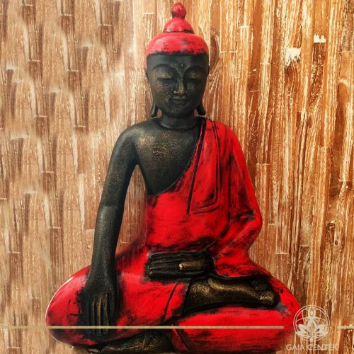 Buddha Statue red and antique gold finishing sitting and meditating with hands gesturing Samadhi or Yoga Mudra at Gaia Center in Cyprus. Shop online at https://gaia-center.com. Cyprus and Worldwide shipping.