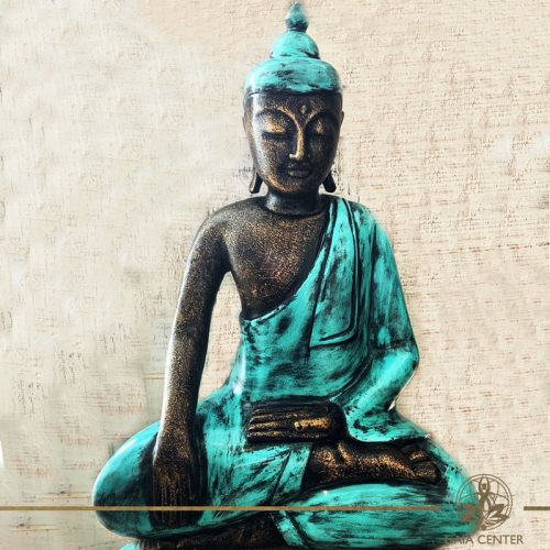 Buddha Statue turquoise and antique gold finishing sitting and meditating with hands gesturing Samadhi or Yoga Mudra at Gaia Center in Cyprus. Shop online at https://gaia-center.com. Cyprus and Worldwide shipping.