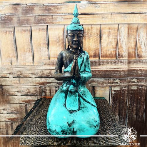 Buddha Statue turquoise and antique gold finishing sitting and meditating with hands gesturing NAMASTE at Gaia Center in Cyprus. Shop online at https://gaia-center.com. Cyprus and Worldwide shipping.