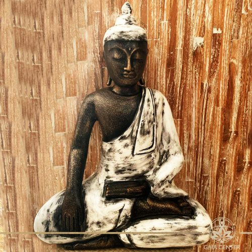 Buddha Statue white and antique gold finishing sitting and meditating with hands gesturing Samadhi or Yoga Mudra at Gaia Center in Cyprus. Shop online at https://gaia-center.com. Cyprus and Worldwide shipping.