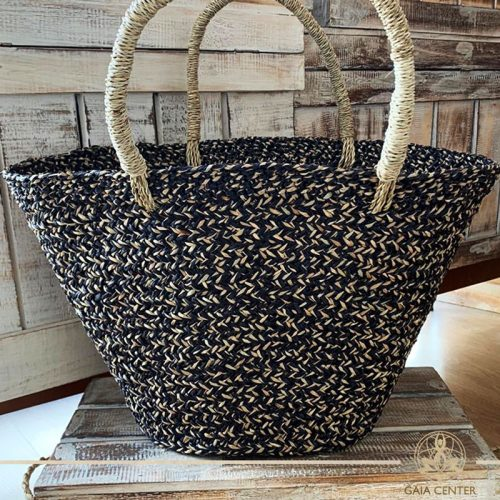 Natural black color straw bag. Summer essentials jewellery and bags at Gaia Center in Cyprus. Shop online at https://gaia-center.com. Cyprus and Worldwide shipping.