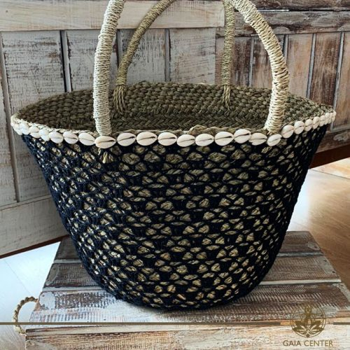 Natural straw bag black color crochet and sea shells design. Summer essentials jewellery and bags at Gaia Center in Cyprus. Shop online at https://gaia-center.com. Cyprus and Worldwide shipping.