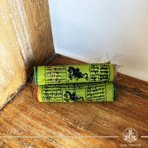 Tibetan Buddhist Prayer Flags with auspicious symbols, invocations, prayers, and mantras at Gaia Center in Cyprus. Shop online at https://gaia-center.com. Cyprus and Worldwide shipping.