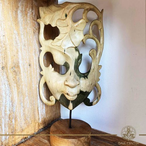 Wooden mask stand decor hand carved at Gaia Center in Cyprus. Shop online at https://gaia-center.com. Cyprus and Worldwide shipping.