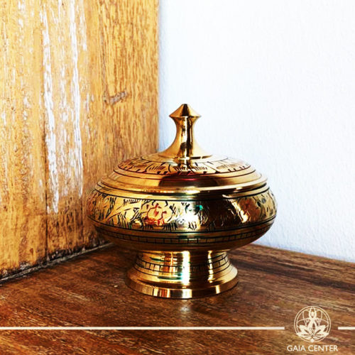 Brass Bowl for charcoal and incense resin for space clearing and smudging at Gaia Center | Cyprus.