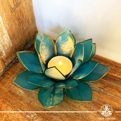 Natural Seashell Candle holder Lotus Design in Blue Color at Gaia Center | Cyprus.