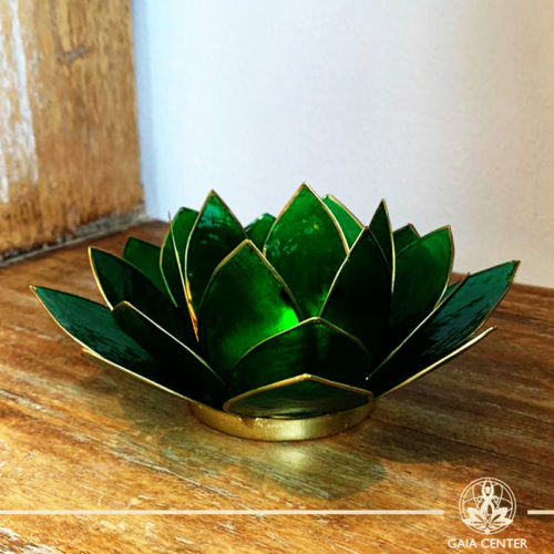 Natural Seashell Candle holder Lotus Design in Green Color at Gaia Center | Cyprus.