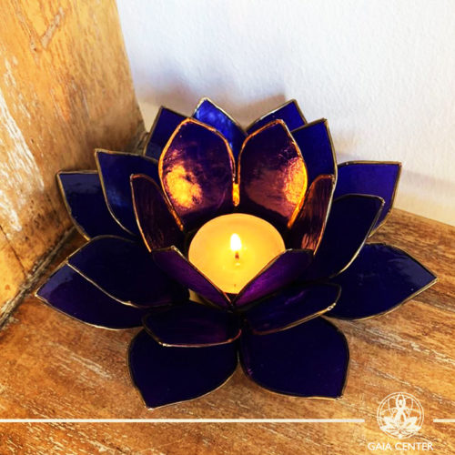 Natural Seashell Candle holder Lotus Design in Indigo Color at Gaia Center | Cyprus.