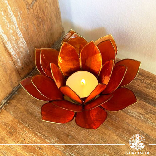 Natural Seashell Candle holder Lotus Design in Orange | Cyprus.