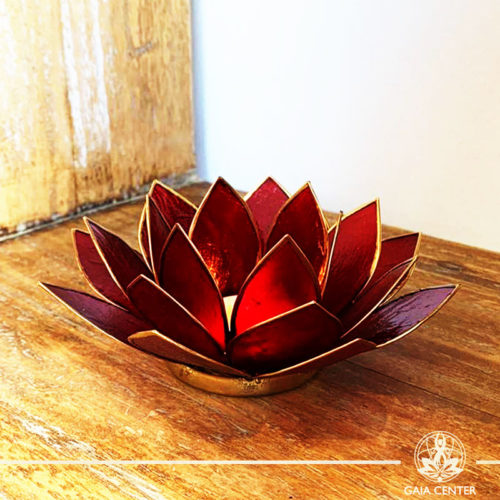 Natural Seashell Candle holder Lotus Design in Red Color at Gaia Center | Cyprus.