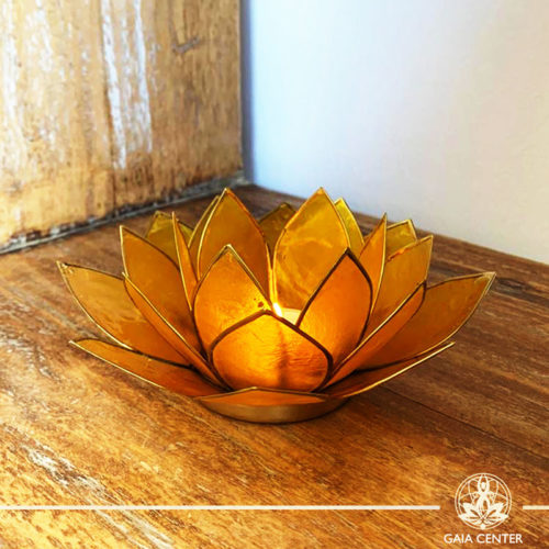 Natural Seashell Candle holder Lotus Design in Yellow | Cyprus.