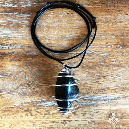 Gemstone Pendant with an adjustable string and Silver plated metal spiral cage for a stone- Dragons Blood Tumblestone (South Africa) at Gaia Center | Cyprus.