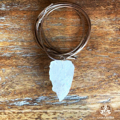 Crystal Pendant with an adjustable string - Clear Crystal Quartz - Premium Quality from India at Gaia Center | Cyprus.