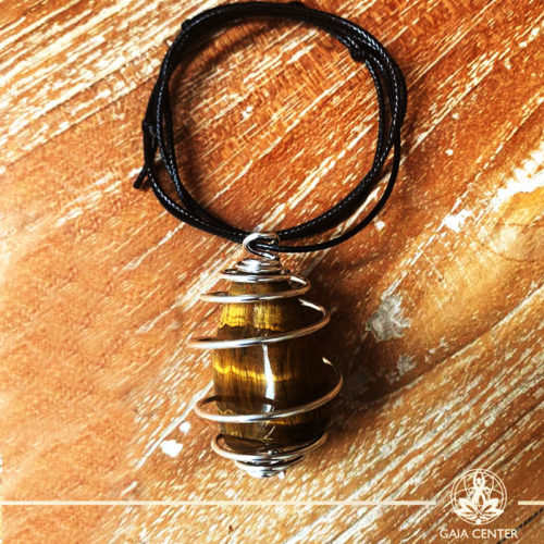 Crystal and Gemstone Pendants - Tigers Eye Gold at Gaia Center   Cyprus.