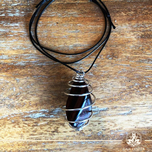 Gemstone Pendant with an adjustable string and Silver plated metal spiral cage for a stone-Red Tigers Eye Tumblestone (South Africa) at Gaia Center | Cyprus.
