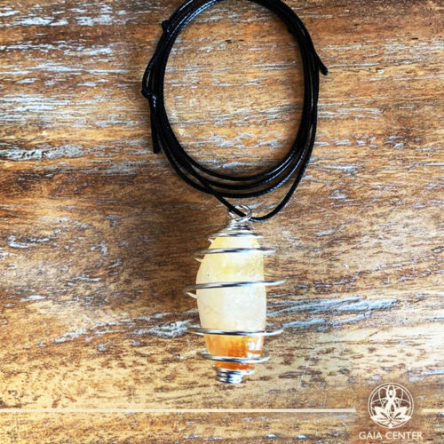 Gemstone Pendant with an adjustable string and Silver plated metal spiral cage for a stone-Citrine Quartz Tumblestone at Gaia Center   Cyprus.