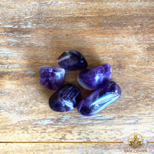 Amethyst Banded tumbled stones | Namibia. Crystals and Gemstones selection at Gaia Center | Cyprus.
