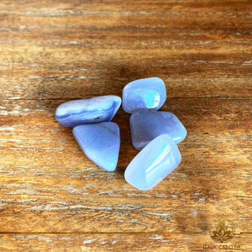 Blue Lace Agate tumbled stones | Namibia. Crystals and Gemstones selection at Gaia Center | Cyprus.