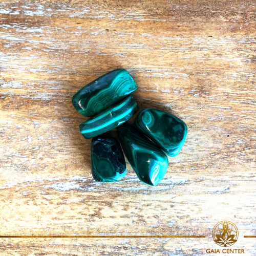 Malachite tumbled stones | Zaire. Crystals and Gemstones selection at Gaia Center | Cyprus.