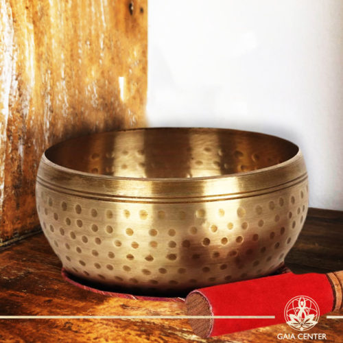Singing Bowl HandBeaten brass 15cm diameter with a fabric mat and wooden striker at Gaia Center | Cyprus.
