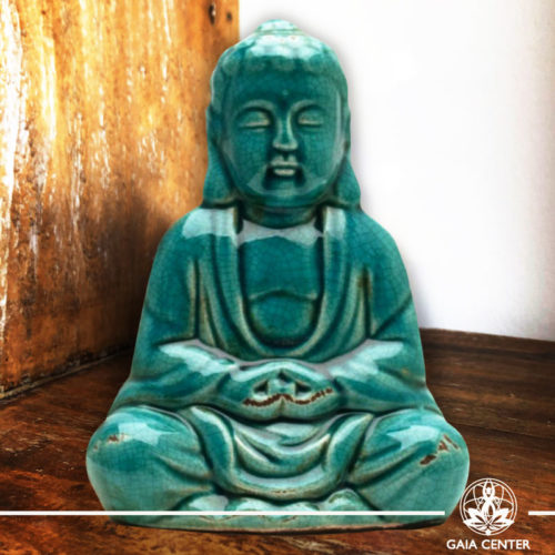 Thai Buddha Statue. Antique Blue Ceramic design. Gaia Center | Cyprus.