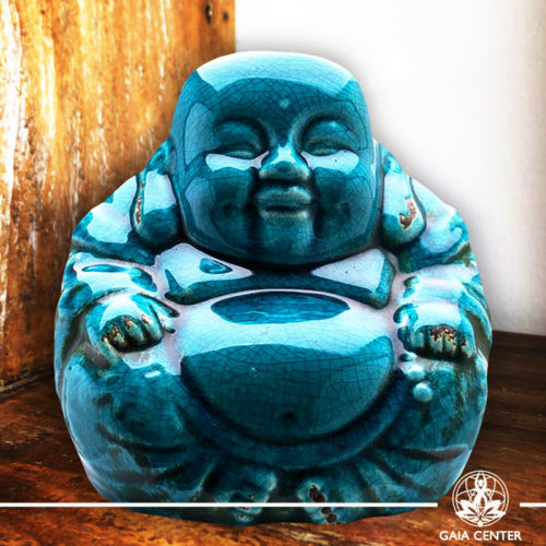 Chinese Buddha Statue. Antique Blue Ceramic design. Gaia Center | Cyprus.