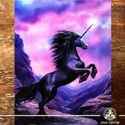 Canvas Plaque Black Unicorn | Wall Art | at Gaia Center | Cyprus.