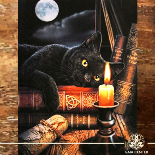 Canvas Plaque Witching Hour Cat | Wall Art | at Gaia Center | Cyprus.