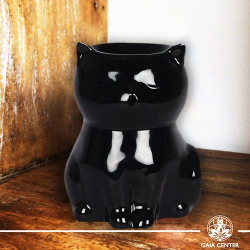 Essential Oil Burner or Wax Melt Burner - Ceramic Black Cat design at Gaia Center | Cyprus.
