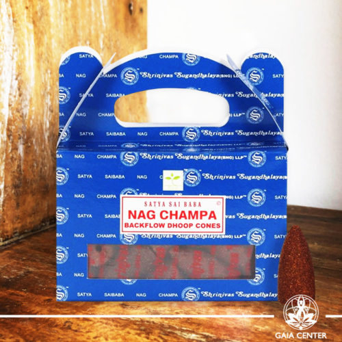 Backflow Dhoop Cones Nag Champa by Satya at Gaia Center | Cyprus. Pack contains 24 cones.