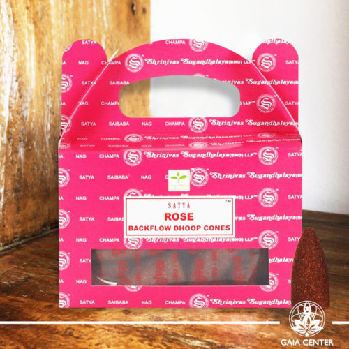 Backflow Dhoop Cones Rose by Satya at Gaia Center | Cyprus. Pack contains 24 cones.