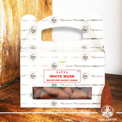 Backflow Dhoop Cones White Musk by Satya at Gaia Center | Cyprus. Pack contains 24 cones.