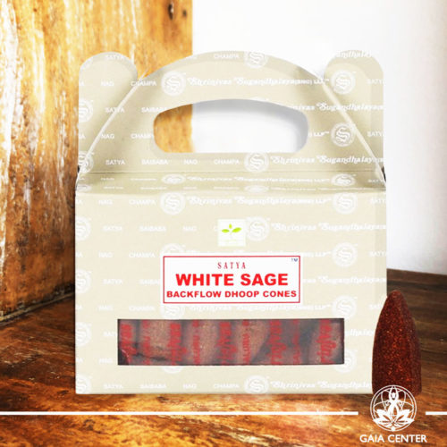 White Sage Backflow Dhoop Cones by Satya at Gaia Center | Cyprus. Pack contains 24 cones.