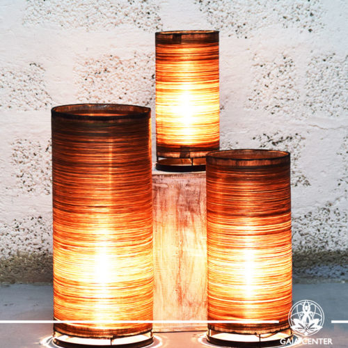 Lamps set textile brown color  set of three sizes  from Bali at Gaia Center   Cyprus.