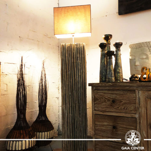 Lamp Floor Standing teak wood from Bali at Gaia Center | Cyprus.